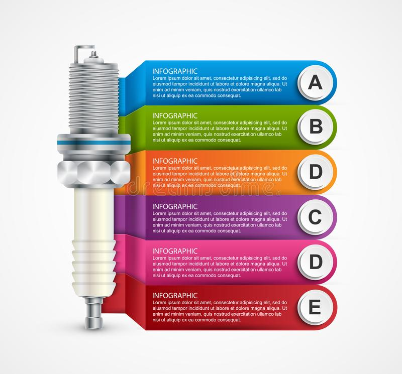 Infographics with spark plugs for presentations and brochures. Vector illustration stock illustration