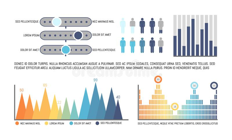 Infographics with Statistics and Numerical Data. Infographics with statistics numerical data vector. Schemes and diagrams, human icons population analysis in royalty free illustration