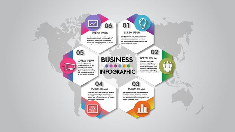 Infographics 6 steps business vector illustration organization chart with icon. Template for brochure, business, web design. vector illustration