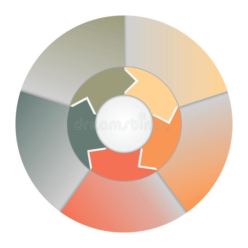Infographics strips and colorful semicircle for business conceptual cyclic processes on five positions. royalty free illustration