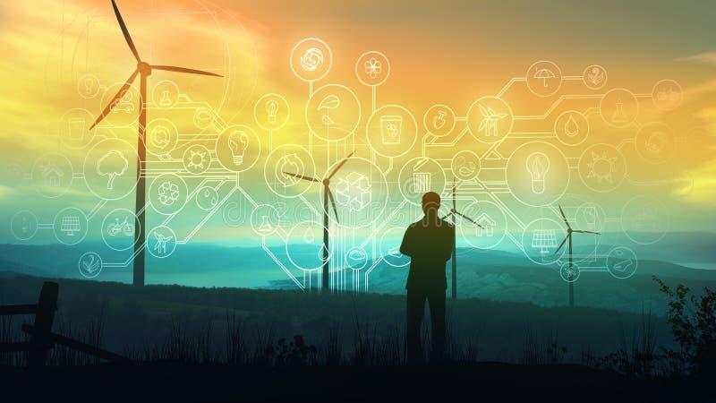 Infographics sur l'énergie renouvelable et l'économie verte sur le fond des turbines de vent photo stock