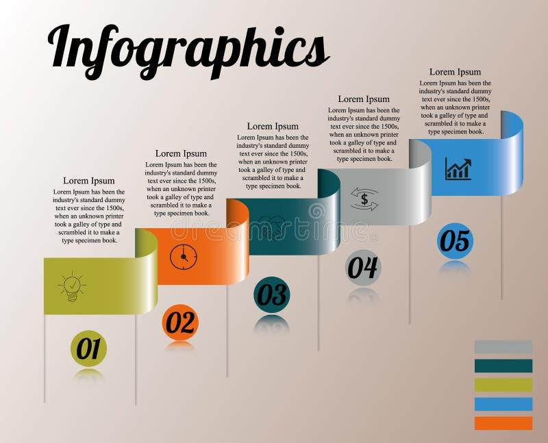 Infographics sur le rectangle incurvé cinq par étapes avec le texte d'en haut illustration stock