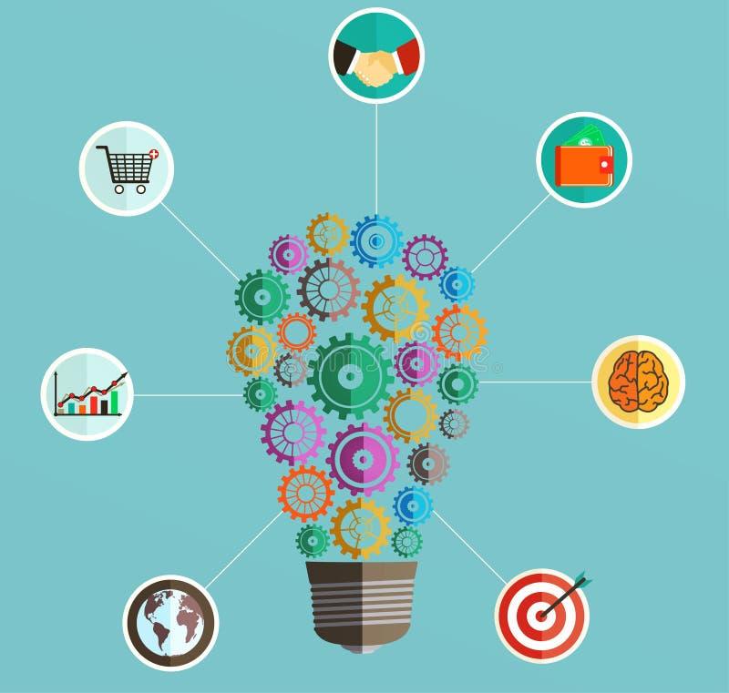 Infographics szablon z żarówką w postaci przekładni z biznesowymi ikonami ilustracji
