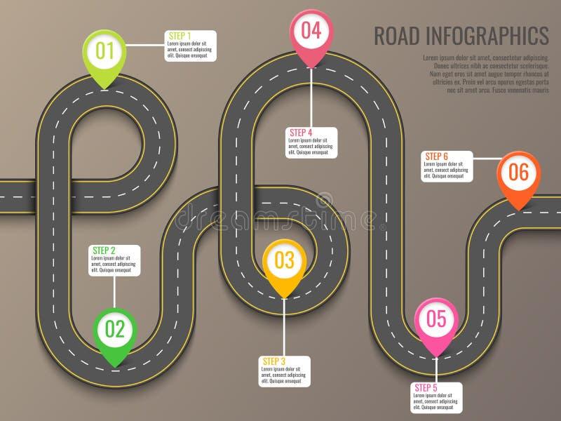Infographics szablon z drogową mapą używać pointeru Odgórnego widoku wektoru elementy Wycieczka samochodowa Biznes i podróż ilustracja wektor