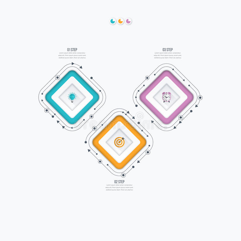 Infographics szablonu 3 opcje z kwadratem ilustracji