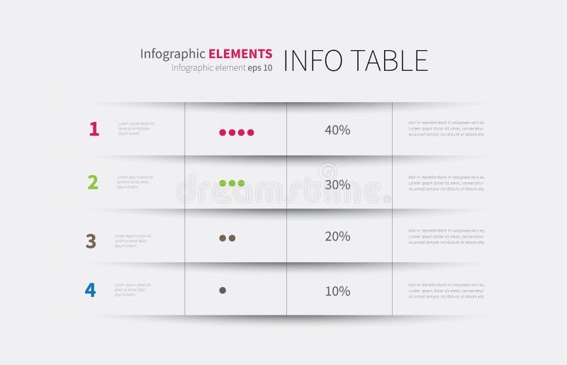 Infographics tabellbakgrund stock illustrationer