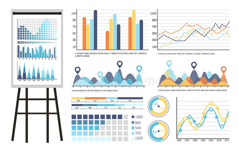 Infographics and Tables on Whiteboard Presentation. Vector. Board containing strategy planning statistics results of investigation. Data in visual form vector illustration