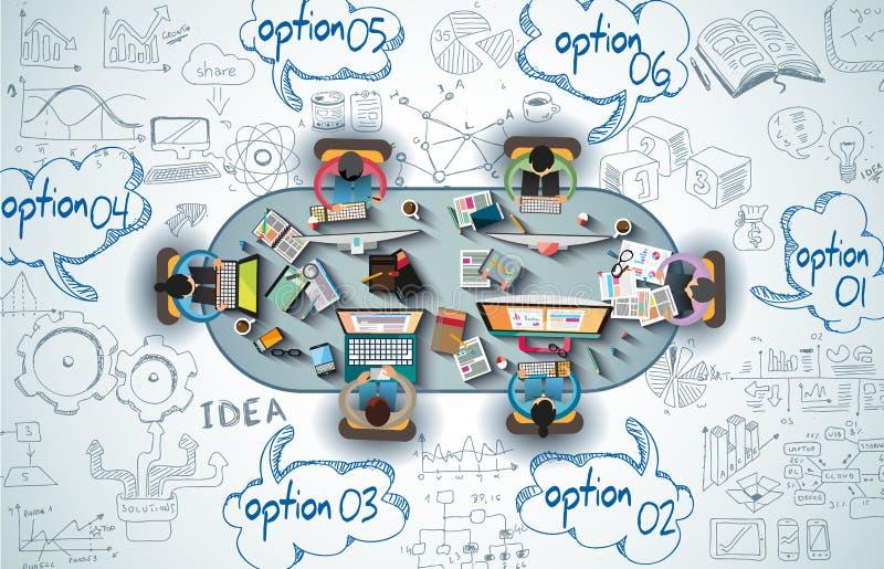 Infographics-Teamwork mit Geschäft kritzelt Skizzenhintergrund stock abbildung