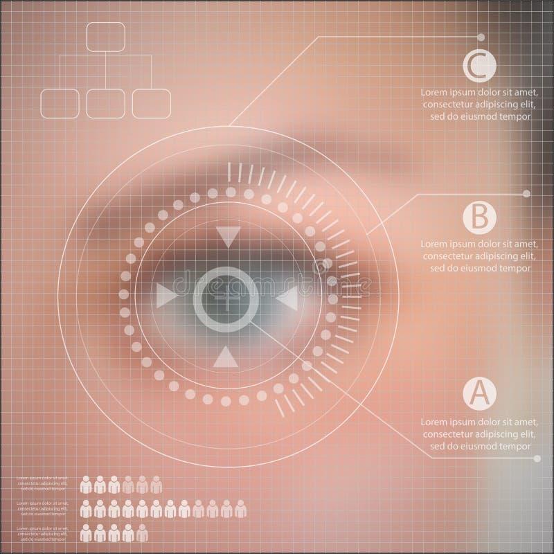 Infographics technology Human eye blurred effect stock illustration