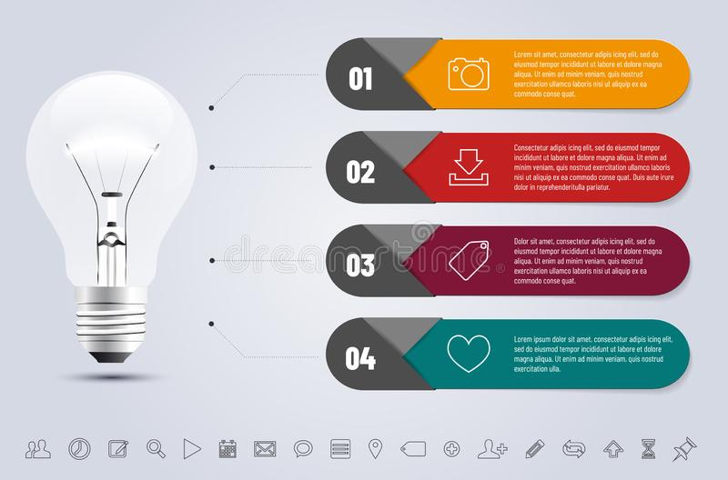 Infographics template with bulb, icons set and frames stock illustration