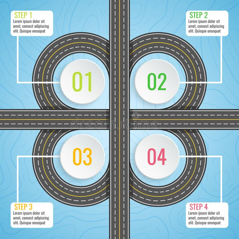 Infographics template with clover road map. Top view vector elements. Road trip. Business and journey infographic design royalty free illustration