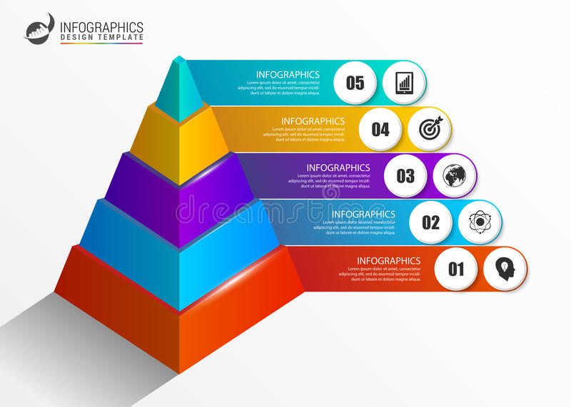 Infographics template. Colorful pyramid concept with options stock illustration