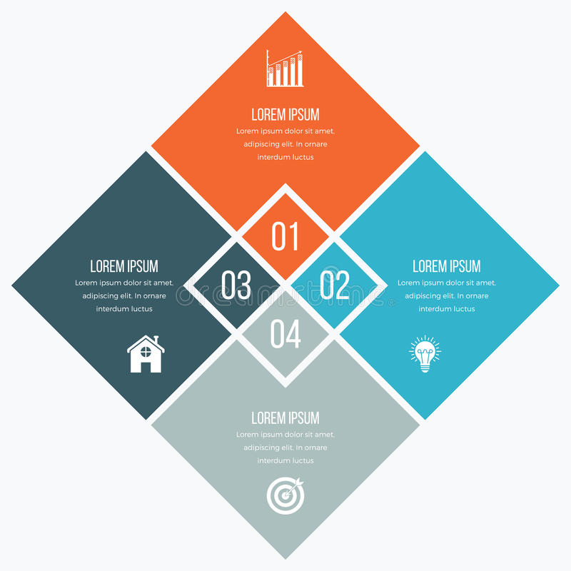 Infographics template four options with square. Can be used for workflow layout, diagram, number options, step up options, web design, presentations royalty free illustration