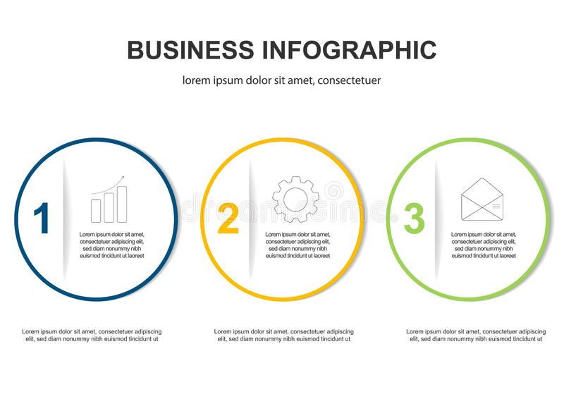 Infographics template 3 options with circle. Data and information visualization. Dynamic infographics stylish geometric stock illustration