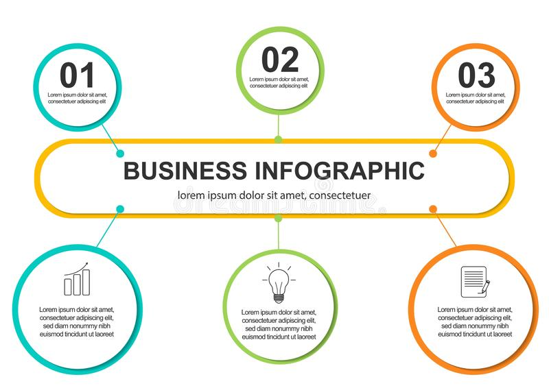 Infographics template 3 options with circle. Data and information visualization. Dynamic infographics stylish geometric royalty free illustration