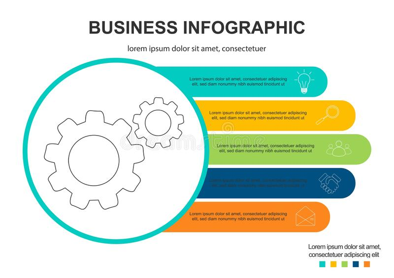 Infographics template 5 options with circle. Data and information visualization. Dynamic infographics stylish geometric royalty free illustration