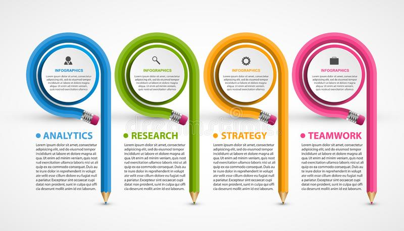 Infographics template with pencil. Can be used for education or business presentations, information banner vector illustration