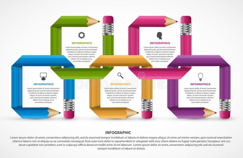 Infographics template. Pencil with colored ribbons. Infographics for business presentations or information banner. Vector illustration royalty free illustration