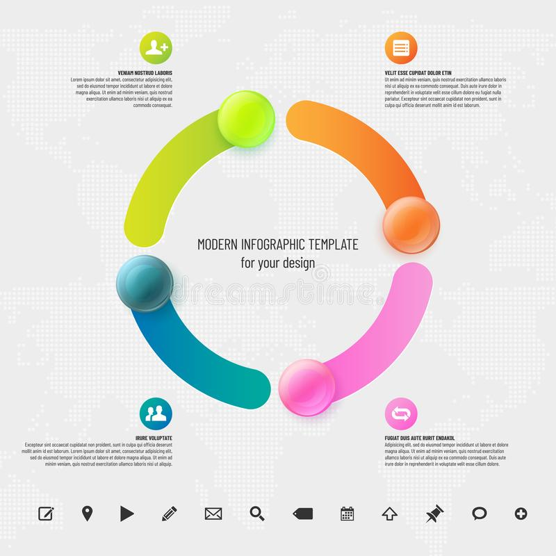 Infographics template with place for your text and icons set stock photos