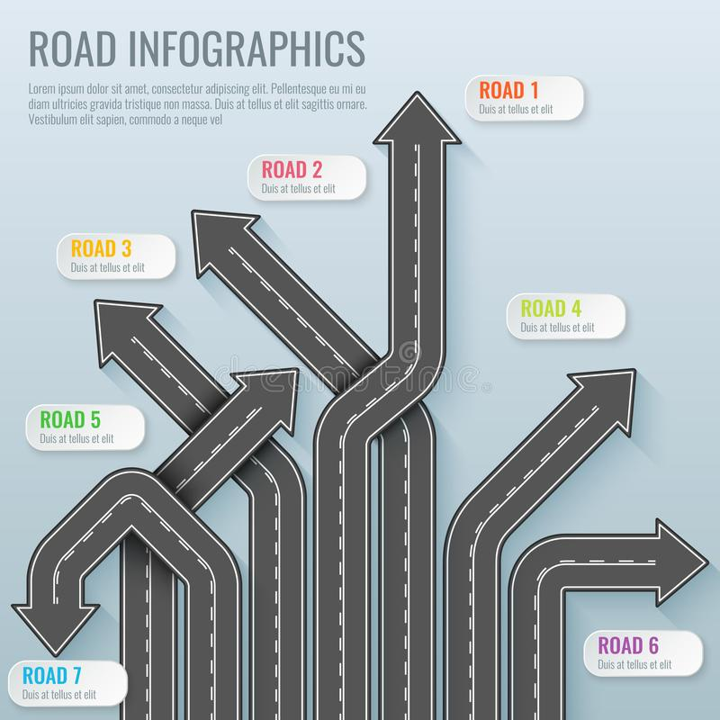 Infographics template with road map. Top view vector elements. Road trip. Business and journey infographic design. Template. Winding road on a gray vector vector illustration