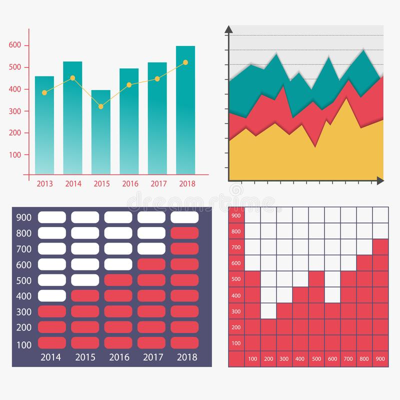 Business infographic template. Infographics Template. Set of graphic design elements histogram and graph charts. Vector illustration royalty free illustration