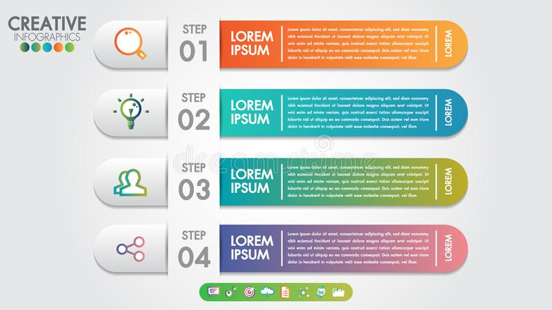 Infographics template 4 steps or options for business banner design vector and marketing icons.Can be used for workflow layout royalty free illustration