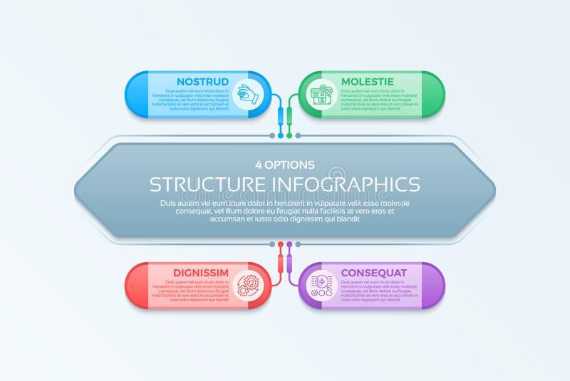 Infographics template with 4 structure elements of business orga. Nization. Template with options. Vector illustration stock illustration