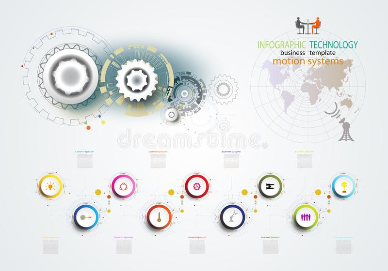 Infographics template technology gear wheel engineering on circuit board. Infographics template technology gear wheel engineering on circuit board, Vector royalty free illustration