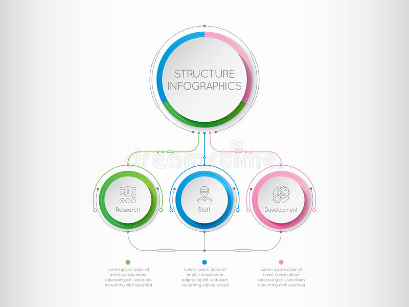Infographics template with a three structure elements of busines royalty free illustration