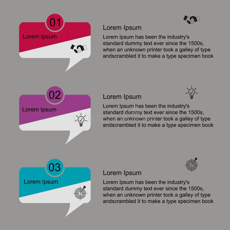 Infographics for text. Business data visualization, infographics. Scheme of the process of elements with the help of graphics, diagrams of rectangles in three royalty free illustration