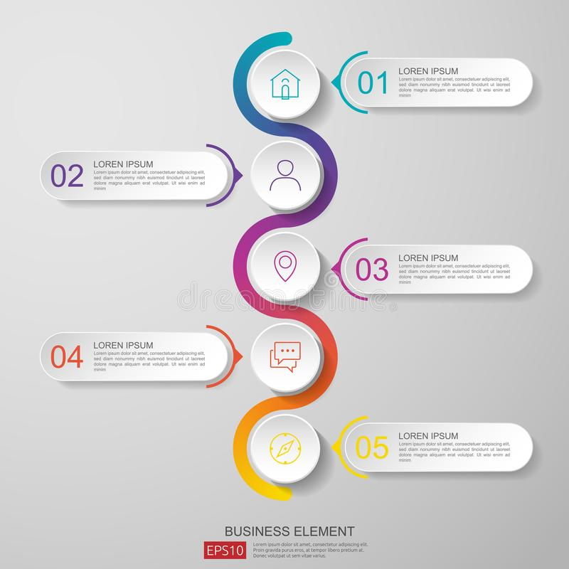 infographics timeline design template vector with 3D paper label, integrated circles. Business concept with options. For content, vector illustration