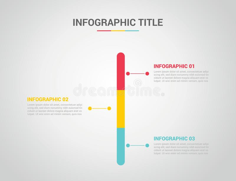 Infographics timeline vertical with 3 or three step process option title - vector royalty free illustration