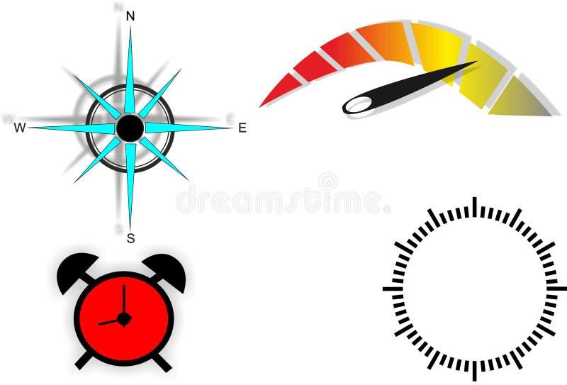 Infographics, tsiferblat, despertador, velocímetro e compasso ilustração stock