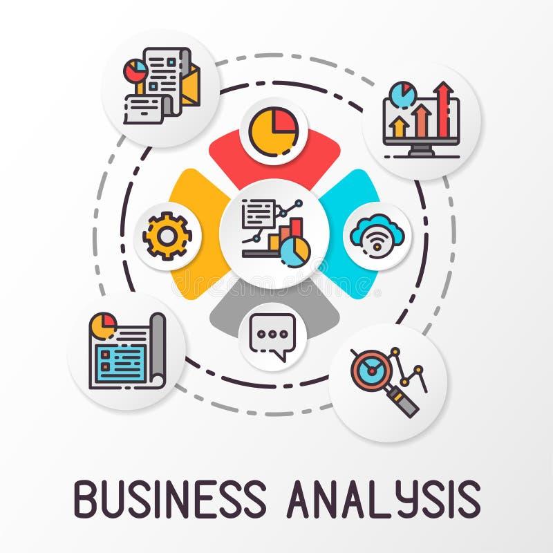 Infographics-Unternehmensanalyse unter Verwendung der farbigen Ikonen Finanzwachstumsdiagramm Auch im corel abgehobenen Betrag lizenzfreie abbildung
