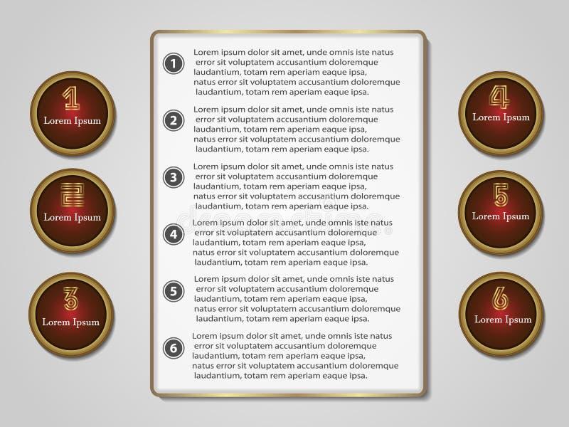 Infographics ustawia sześć opcj dla projekta i miejsca royalty ilustracja