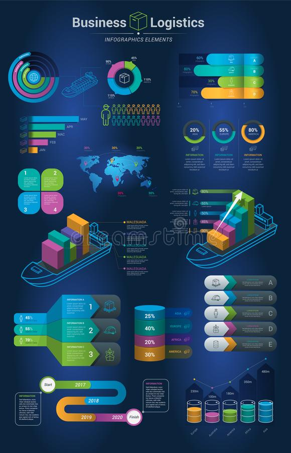 Infographics ustawiający z opcjami Infographic, mapa i ikona, Biznesu i logistyk pojęcie z ciemnym tłem ilustracji