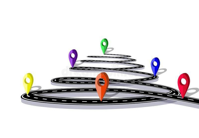 Infographics Vägen stiliseras i form av en spiral Navigations- markörer isolerat illustration stock illustrationer