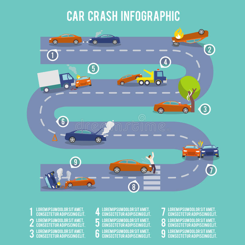 Infographics van de autoneerstorting vector illustratie