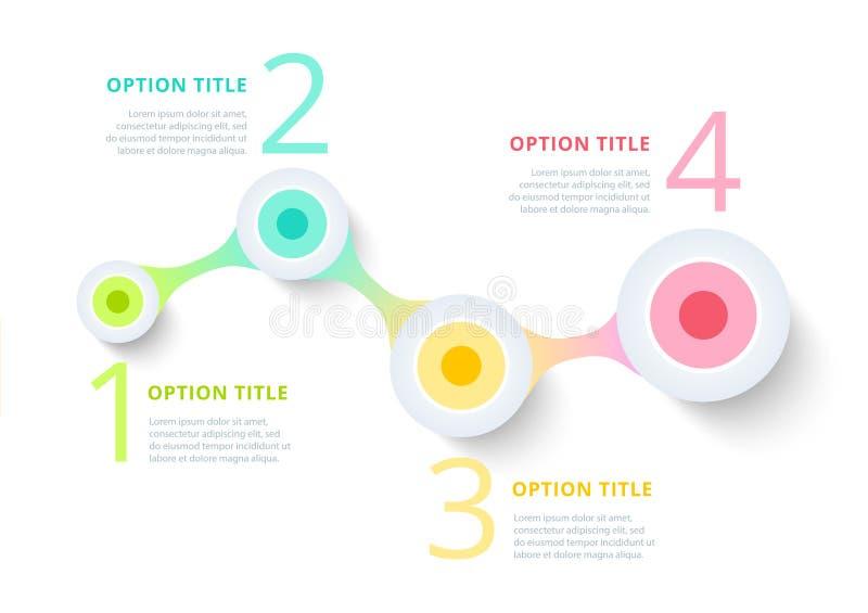 Infographics van de bedrijfsprocesgrafiek met stapcirkels cirkel vector illustratie