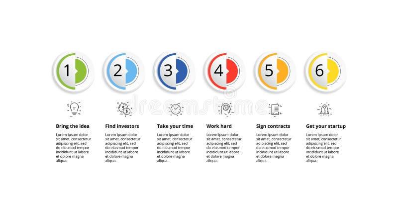 Infographics van de bedrijfsprocesgrafiek met 6 stapcirkels Cirkel collectieve werkschema grafische elementen E royalty-vrije illustratie