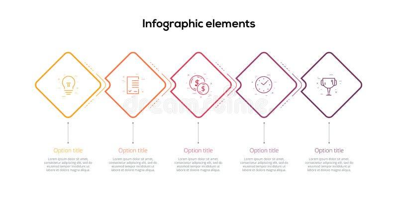 Infographics van de bedrijfsprocesgrafiek met 5 stapruiten Vierkante collectieve werkschema grafische elementen De presentatie va royalty-vrije illustratie