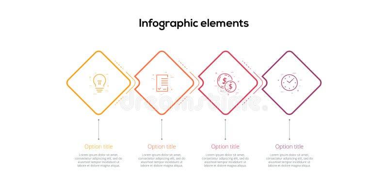 Infographics van de bedrijfsprocesgrafiek met 4 stapruiten Vierkante collectieve werkschema grafische elementen De presentatie va royalty-vrije illustratie