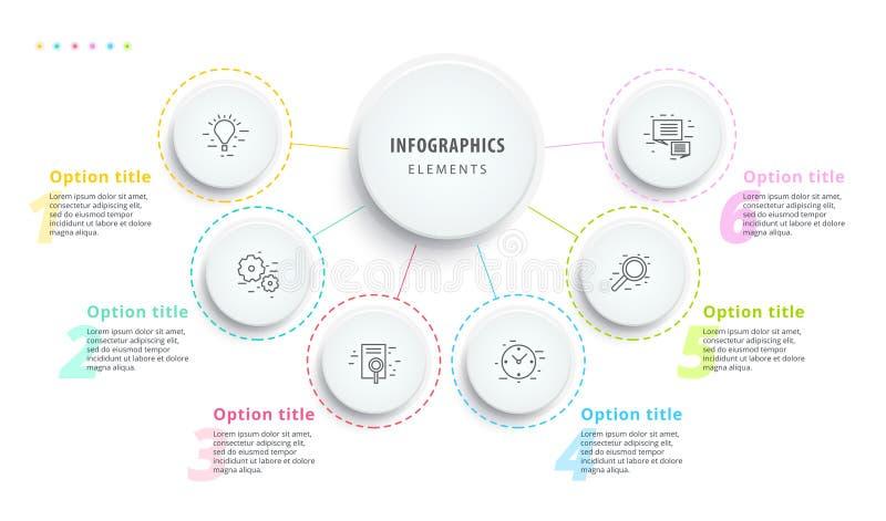 Infographics van de bedrijfsprocesgrafiek met 6 stapsegmenten Circul vector illustratie