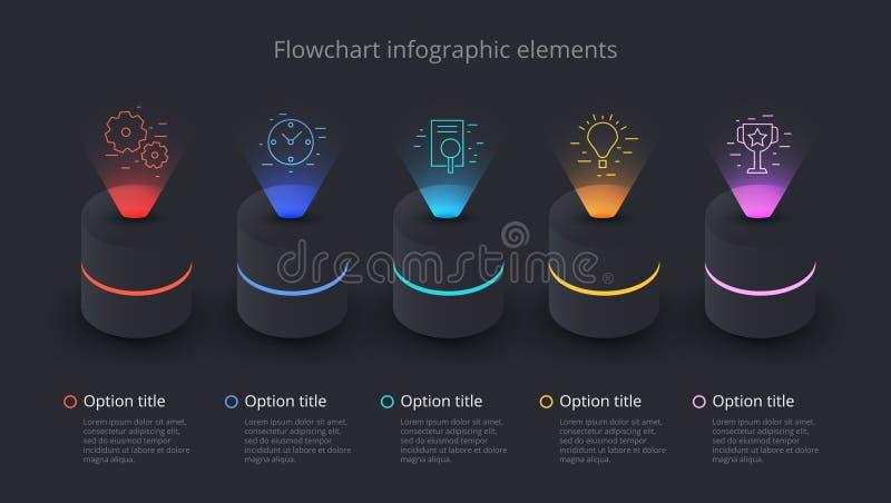 Infographics van de bedrijfsprocesgrafiek met 5 stapsegmenten Circul royalty-vrije illustratie