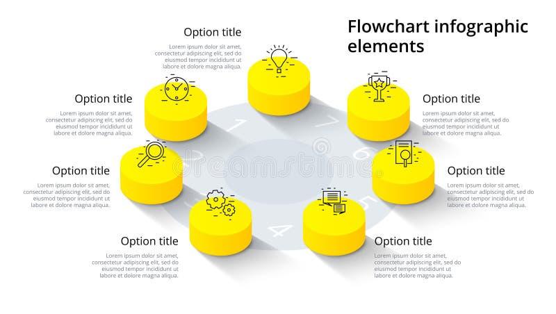 Infographics van de bedrijfsprocesgrafiek met 7 stapsegmenten Isomet royalty-vrije illustratie