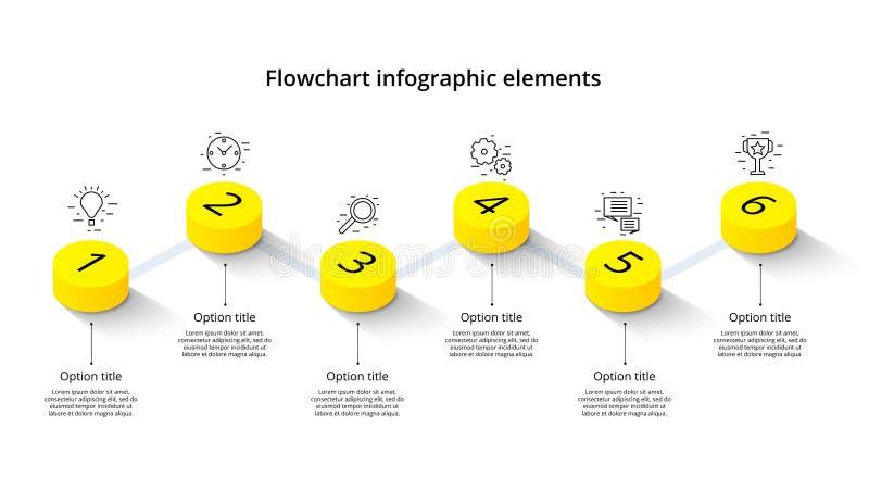 Infographics van de bedrijfsprocesgrafiek met 6 stapsegmenten Isomet stock illustratie