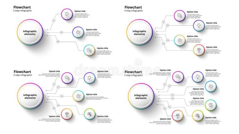 Infographics van de bedrijfsprocesgrafiek met 3 tot 6 stapsegmenten C vector illustratie