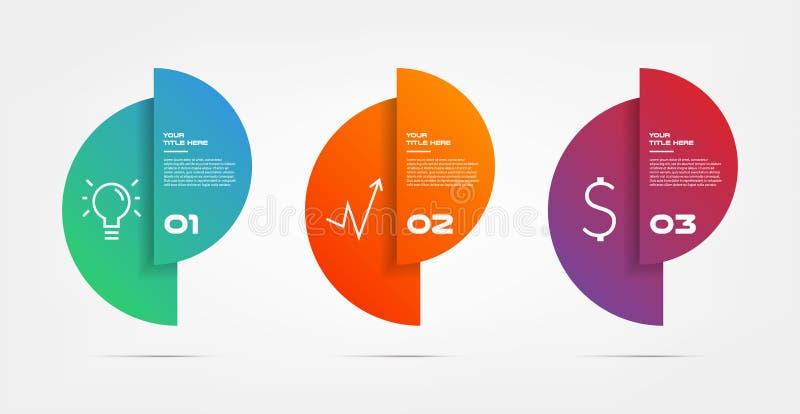 Infographics van de cirkelgradiënt stap voor stap Element van grafiek, grafiek, diagram met 3 opties - delen, processen, chronolo vector illustratie