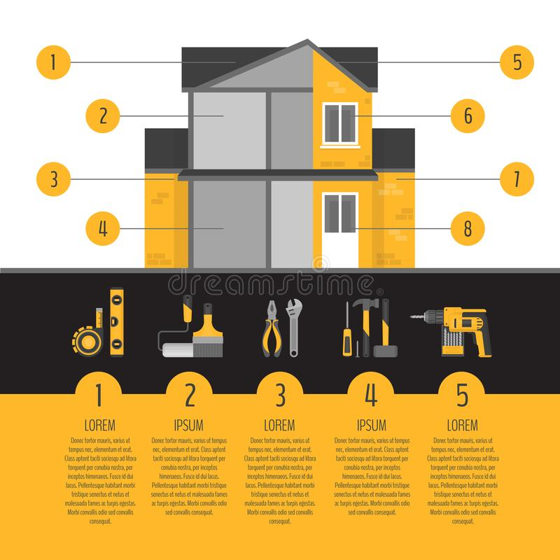 Infographics van de huisreparatie Handhulpmiddelen voor huisvernieuwing en im vector illustratie