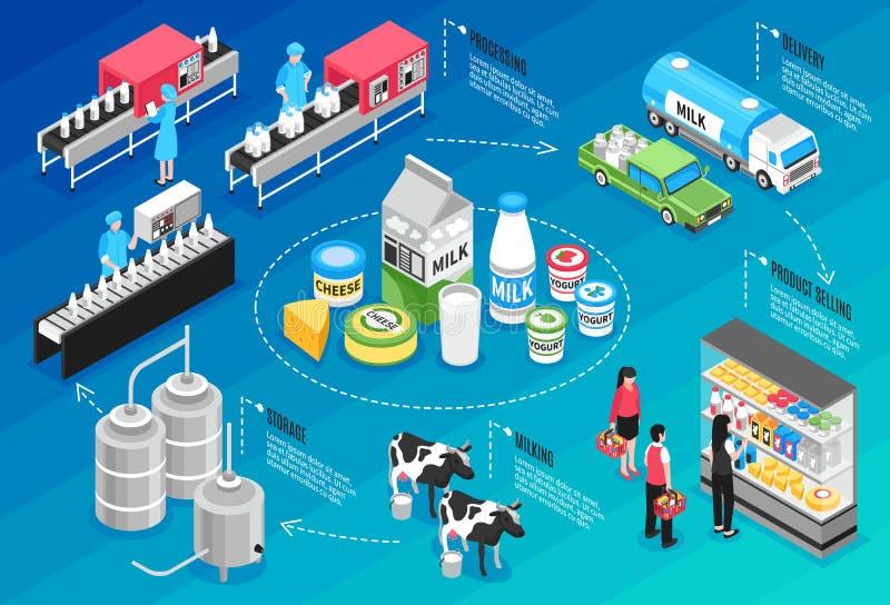 Infographics van de melkproductie stock illustratie